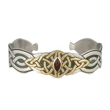 Kalisi Cuff Bracelet in 14K Yellow Gold Design w Sterling Silver Base