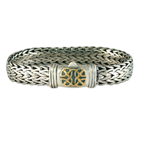 Scroll Chain Bracelet in 14K Yellow Gold Design w Sterling Silver Base