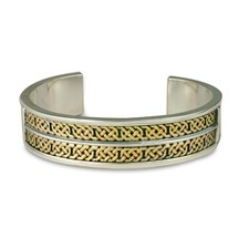 Shannon Cuff Bracelet in 14K Yellow Design/Sterling Base