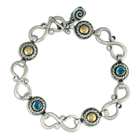 Seville Bracelet with Gems in 14K Yellow Gold Design w Sterling Silver Base