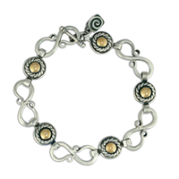 Seville Bracelet in 14K Yellow Gold Design w Sterling Silver Base