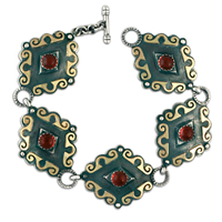 Ravena Links Bracelet in Garnet