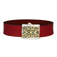 Prague Leather Bracelet in 14K Yellow Gold Design w Sterling Silver Base