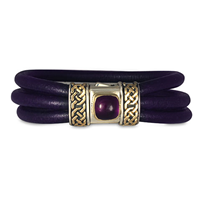 Shannon Leather Bracelet with Amethyst in 14K Yellow Gold Design w Sterling Silver Base