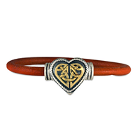 Heart Leather Bracelet in 14K Yellow Gold Design w Sterling Silver Base