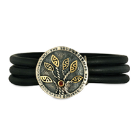 Moon Tree Leather Bracelet in 14K Yellow Gold Design w Sterling Silver Base