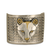 Mountain Lion Cuff Bracelet in 24K Yellow Gold & Sterling Silver