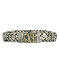 Serpent Bracelet with Diamonds in 18K Yellow Gold Design w Sterling Silver Base