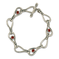 Droplet Bracelet with Gem in Garnet