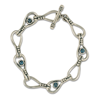 Droplet Bracelet with Gem in London Blue Topaz