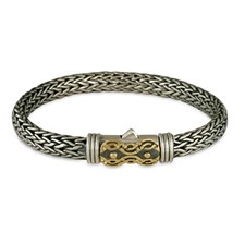 Flow Bracelet in 14K Yellow Gold Design w Sterling Silver Base
