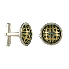 Interlace Cufflinks in 14K Yellow Gold Design w Sterling Silver Base