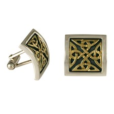 Dublin Cufflinks in 14K Yellow Gold Design w Sterling Silver Base