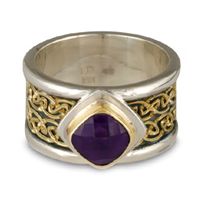 Double Petra Ring in 14K Yellow Gold Design w Sterling Silver Base