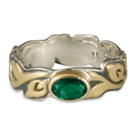 Flores Wide Emerald Ring in 14K Yellow Gold Design w Sterling Silver Base