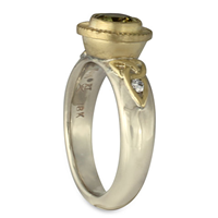 Trinity Bezel Ring in 14K White Gold Borders & Base w 18K Yellow Gold Center