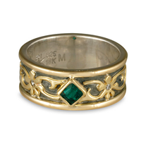 Persephone Square Emerald Ring in 14K White Gold Base w 18K Yellow Gold Center