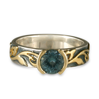 Borderless Flores Aqua Ring in Sterling Borders & Base w 14K Yellow Gold Center