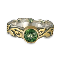 Demantoid Garnet Flores Ring in Sterling Borders & Base w 14K Yellow Gold Center