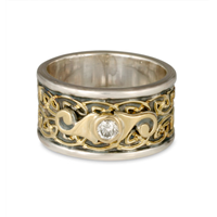 Petra Swirl Ring in 14K Yellow Gold Center w 14K White Gold Base