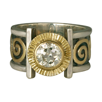 Keltie Ring with Diamonds in 14K Yellow Gold Design w Sterling Silver Base
