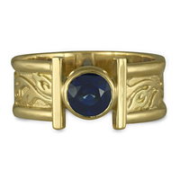 Open Flores Ring with Sapphire in 18K Yellow Gold