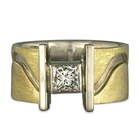 Open River Ring with Princess Diamonds in 14K White Gold Base w 18K Yellow Gold Center