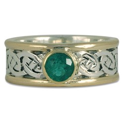 Bordered Petra Ring with Emerald in Sterling Silver Center & Base w 14K Yellow Gold Borders