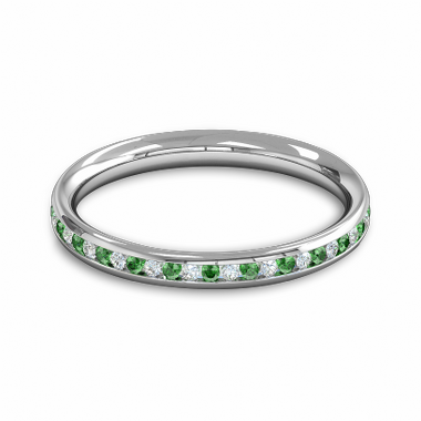 Diamond and Emerald Fairtrade Gold Eternity Ring in 18K White Gold