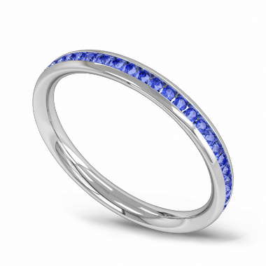 Channel Set Sapphire Fairtrade Gold Eternity Ring in 18K White Fairtrade Gold