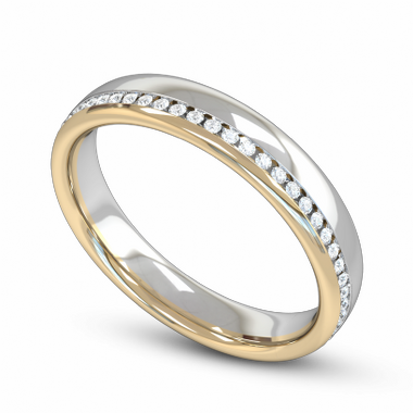 Diamond and Gem Fairtrade Gold Eternity Ring in 18K White & Yellow Gold