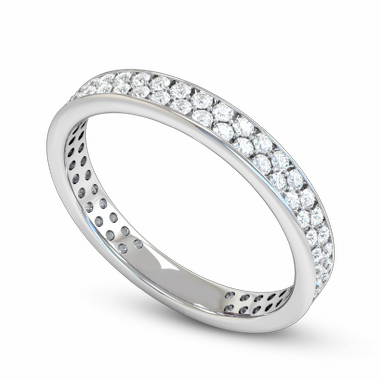 Double Diamond Fairtrade Gold Eternity Ring in 18K White Fairtrade Gold
