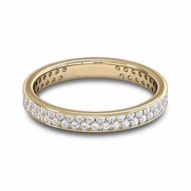 Double Diamond Fairtrade Gold Eternity Ring in 18K Yellow Gold