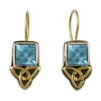 Aria Square Earrings in Swiss Blue Topaz