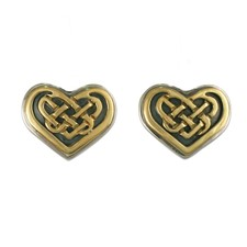 Heart Earrings in 14K Yellow Gold Design w Sterling Silver Base