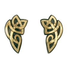 Aegis Earrings in 14K Yellow Gold Design w Sterling Silver Base