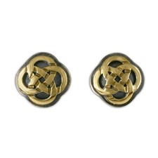 Sita Stud Earrings in 14K Yellow Gold Design w Sterling Silver Base