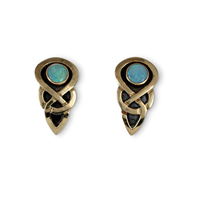 Ceres Earrings with Opal  in 14K Yellow Gold Design w Sterling Silver Base