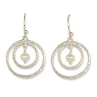 Circle Sterling Silver Earrings with Pearls in Sterling Silver