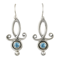Viola Earrings with Gems in Swiss Blue Topaz