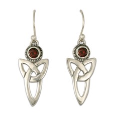 Trinity Earrings with Gems in Garnet