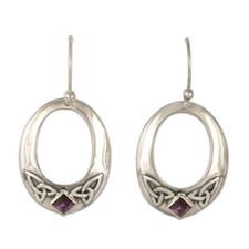 Trinity Hoop Earrings in Amethyst