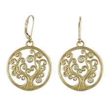 Tree of Life Earrings 18K with Gems in 18K Yellow Gold