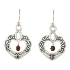 Anam Cara Earrings with Gem in Sterling Silver