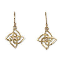 Solid Gold Karasel Earrings with Lab Grown Diamond in 18K Yellow Gold