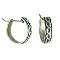 Rope Hoop Silver Earrings in Sterling Silver