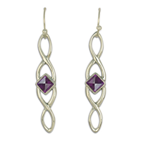 Twist Earrings Long in Amethyst
