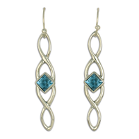 Twist Earrings Long in Swiss Blue Topaz