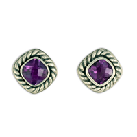 Athena Earrings with Gem Silver in Amethyst