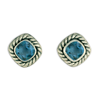 Athena Earrings with Gem Silver in Swiss Blue Topaz